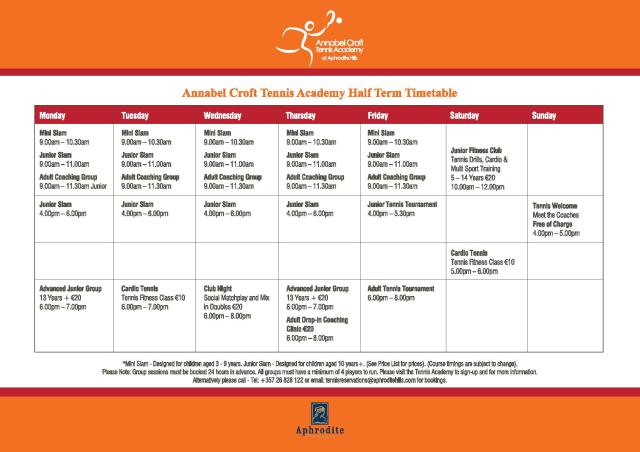 Tennis Annabel Croft-October timetable-JPG