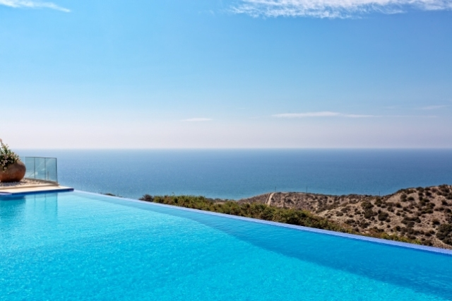 Panoramic sea views from infinity pool at Villa AV17, Aphrodite Hills Resort Cyprus