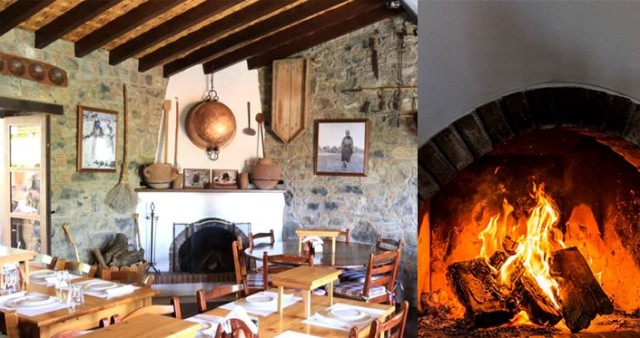 Traditional Cypriot taverna, and roaring open fire